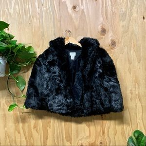 Ann Taylor LOFT Black Fur Crop Cape Coat